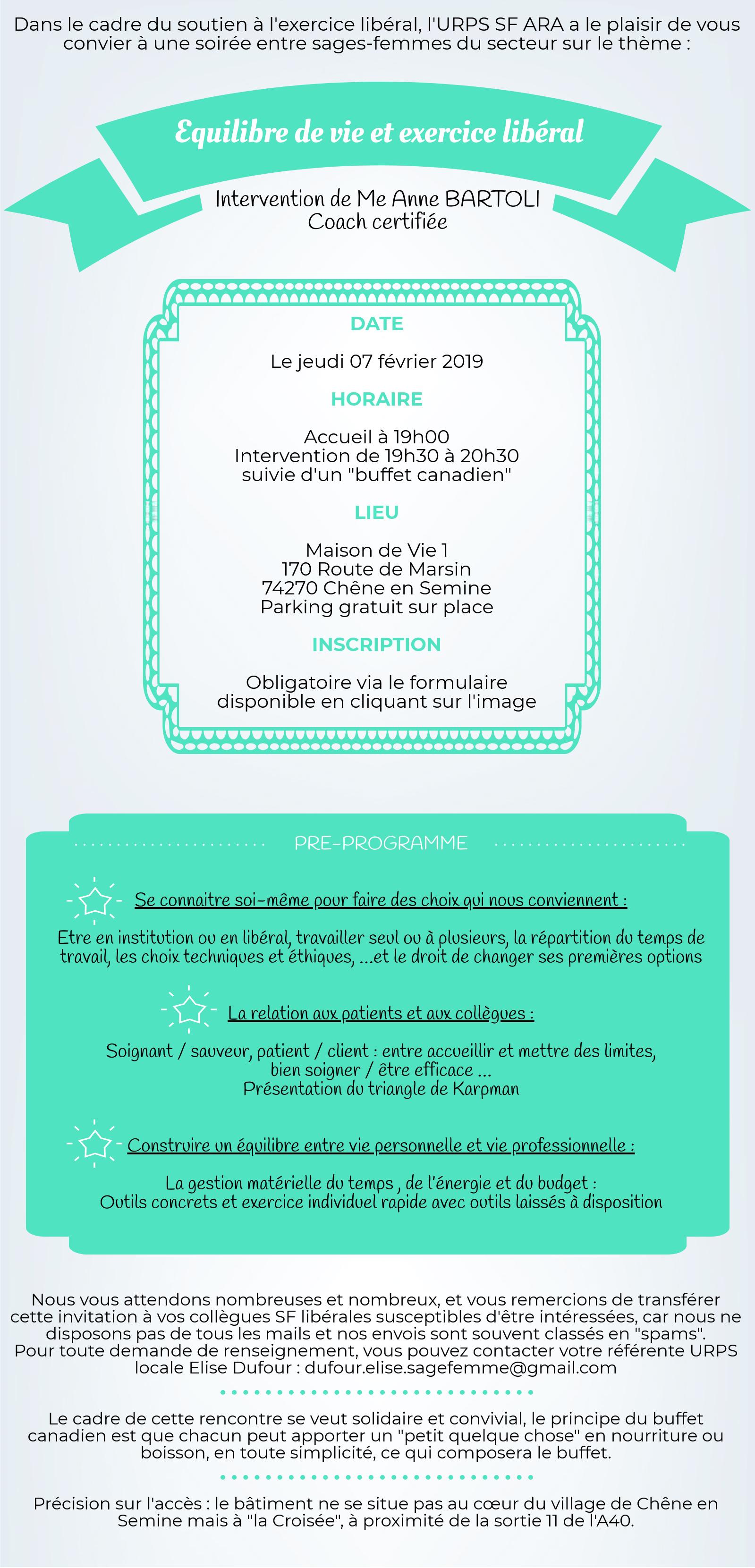 """Invitation à la soirée-conférence """"Equilibre de vie et exercice libéral"""" le 07/02/19 pour les sages-femmes libérales du secteur 74 73 01"""